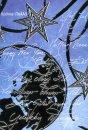 Karácsonyi üdvőzlőlap - 115x170 mm - oldalra nyitható - ezüst fólianyomással, domborítva