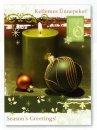 Karácsonyi üdvözlőlap -155x110 mm - oldalra nyitható - kívül2, belül4 nyelvű köszöntőszöveggel - aranyozott