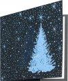 Karácsonyi üdvözlőkártya -135x135mm - oldalra nyitható -kék fólianyomással- betétlapos