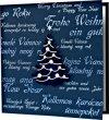 Karácsonyi képeslap - 135x135 mm - oldalra nyitható - ezüst és kék fólianyomott borítóval, felragasztható különleges kartonból készült fenyőfával - betétlapos