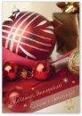 Karácsonyi képeslap - 110x155 mm - oldalra hajtható - aranyozott - kívül magyar-angol nyelvű köszöntő - belül magyar-angol-német szöveg