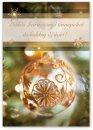 Karácsonyi képeslap - 110x155 mm - oldalra hajtható - aranyozott - kívül magyar nyelvű köszöntő - belül magyar-angol-német-olasz szöveg