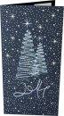 Karácsonyi képeslap - 210x100 mm - oldalra nyitható -sötétkék karton ezüst és kék prégelt stilizált karácsonyfával, évszámmal - beige színű betétlappal