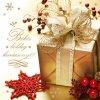 Karácsonyi képeslap - 13x13 cm - oldalra nyitható - aranyozott díszítéssel - belül üres